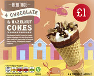 4 Chocolate & Hazelnut cones